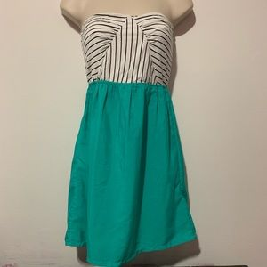 ROXY Dress Green Striped Black Medium